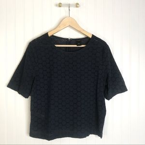 Ann Taylor Navy blue lace blouse top shirt M